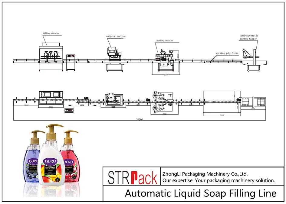 خط پر کننده صابون مایع اتوماتیک