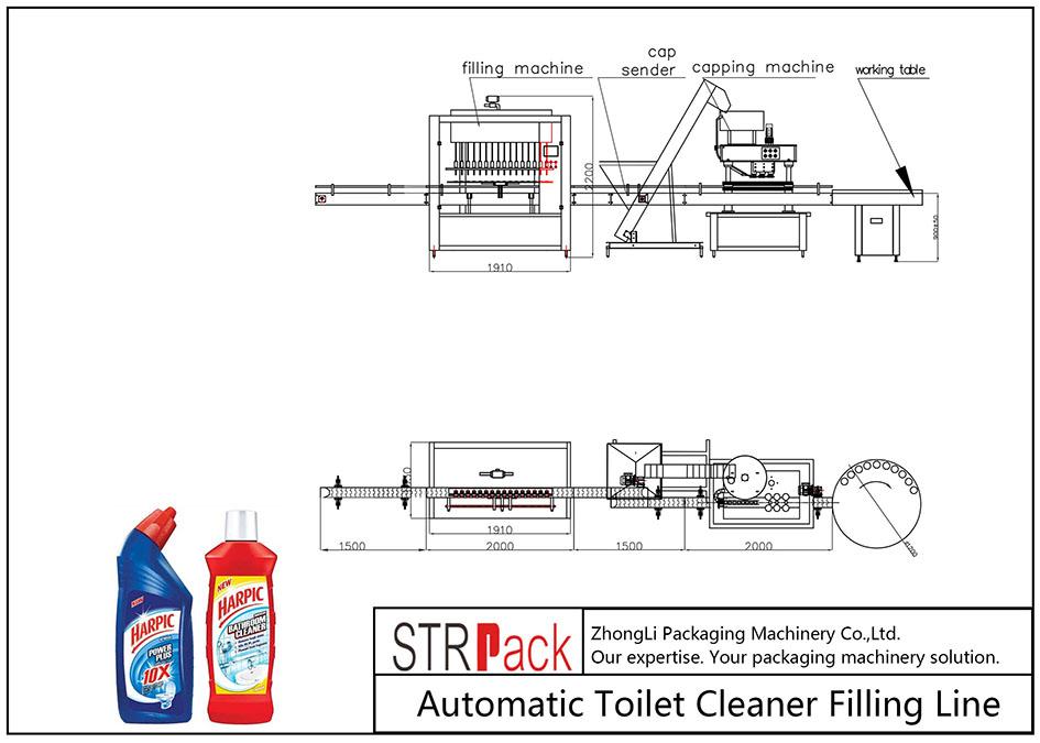 خط پر کننده خودکار تمیز کننده توالت